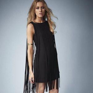Kate Moss for Topshop Black Fringe Mini Dress